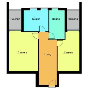 planimetria trilocale San Paolo